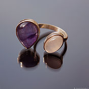 Украшения handmade. Livemaster - original item Oversized ring with rose quartz and amethyst. Handmade.