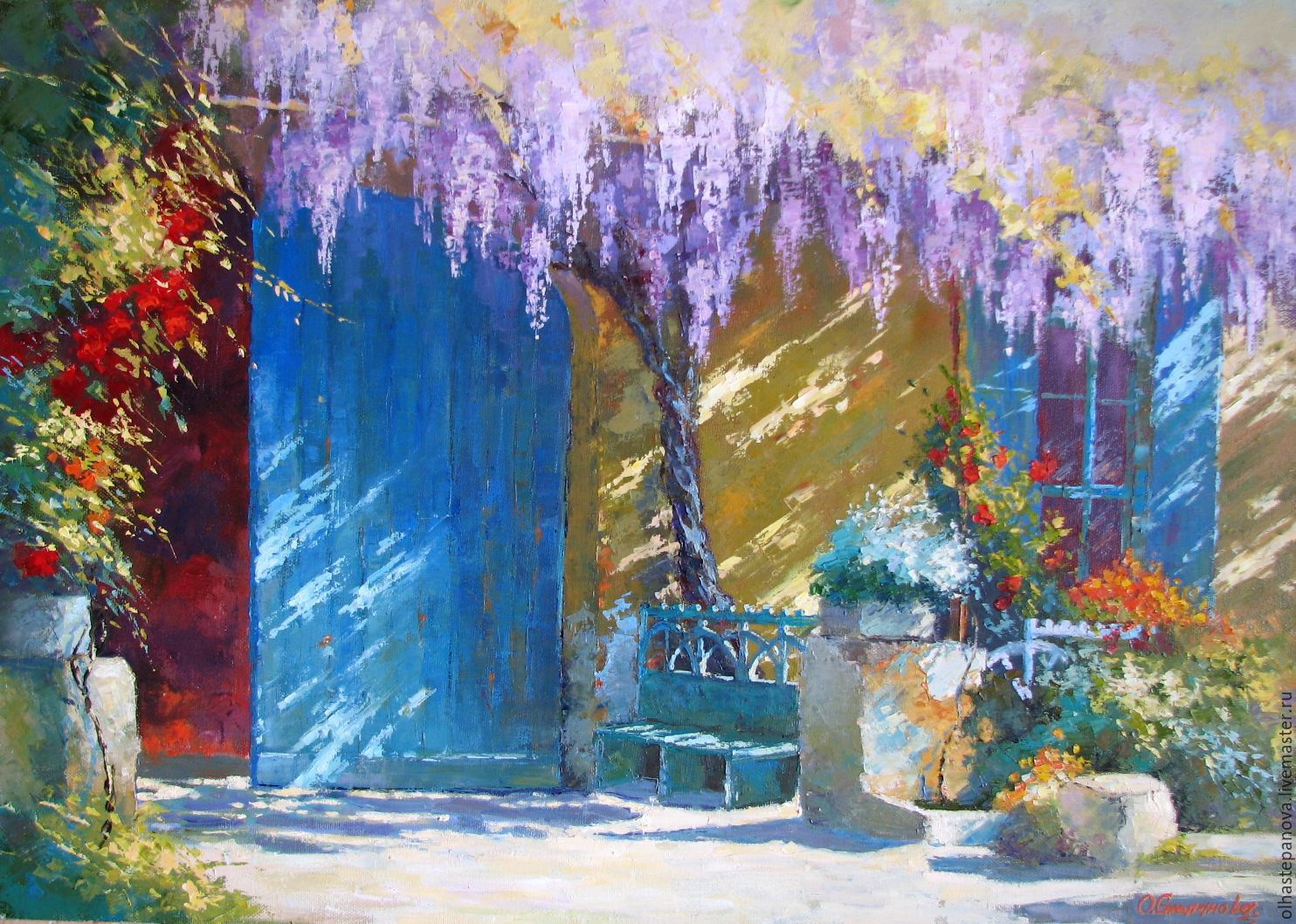 'Wisteria courtyard', oil on canvas, Pictures, Sevastopol,  Фото №1