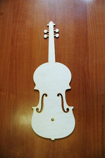 Часы `Скрипка` Размер: 50х18 см Материал: фанера 4 мм