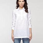 Одежда ручной работы. Ярмарка Мастеров - ручная работа Хлопковая белоснежная  блузка - рубашка. Handmade.