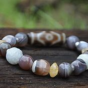 Фен-шуй и эзотерика handmade. Livemaster - original item JI 6 Eye Talisman Bracelet - agate Botswana, citrine, silver. Handmade.