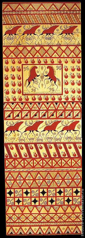 Быт ручной работы. Ярмарка Мастеров - ручная работа. Купить Мезенская роспись - панно декоративное. Handmade. Панно настенное, дерево