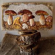 Для дома и интерьера ручной работы. Ярмарка Мастеров - ручная работа «Белые грибы» объёмное панно на дереве. Handmade.