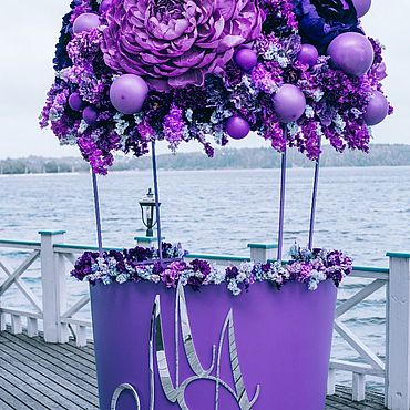Свадебный салон ручной работы. Ярмарка Мастеров - ручная работа Фотозона гигантская корзина с фиолетовым шаром из цветов. Handmade.