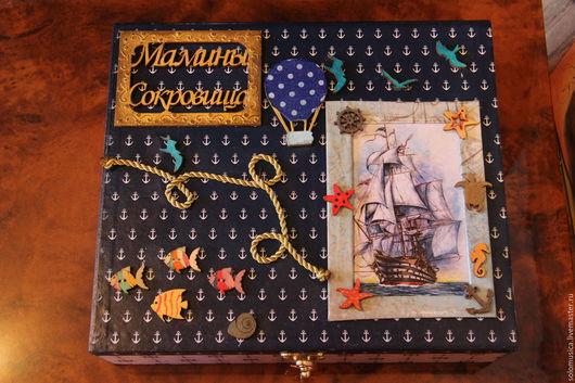 """Подарки для новорожденных, ручной работы. Ярмарка Мастеров - ручная работа. Купить Коробочка """"Мамины сокровища"""" для мальчика. Handmade. Тёмно-синий"""