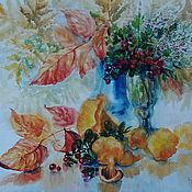"""Картины и панно ручной работы. Ярмарка Мастеров - ручная работа картина акварелью""""Осенний букет с брусникой """". Handmade."""