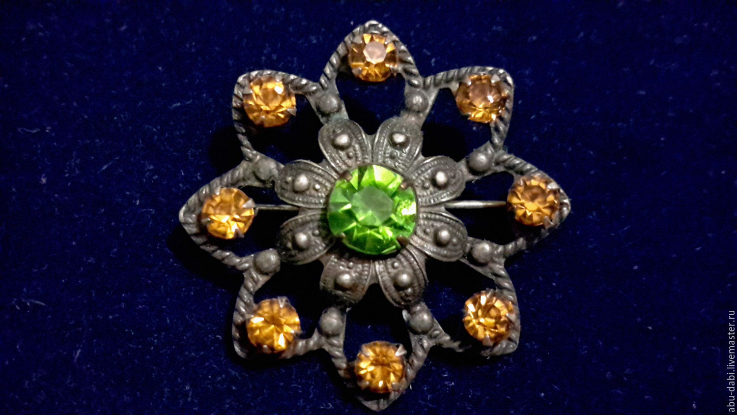 Vintage ,antique brooch with silver plated: insert - peridot, Golden Topaz (stone of the USSR ), no amalgam - glowing by themselves.