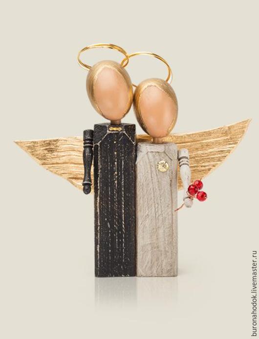 Подарки на свадьбу ручной работы. Ярмарка Мастеров - ручная работа. Купить Ангелы свадебные. Handmade. Чёрно-белый, молодожены, дерево