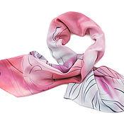 """Шарфы ручной работы. Ярмарка Мастеров - ручная работа Серо-розовый шарф шёлковый лёгкий """"Тюльпаны"""" роспись батик. Handmade."""