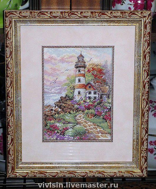"""Пейзаж ручной работы. Ярмарка Мастеров - ручная работа. Купить Картина """"Маяк на рассвете"""". Handmade. Пейзаж, маяк"""