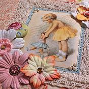 Канцелярские товары ручной работы. Ярмарка Мастеров - ручная работа Альбом для девочки в ретро-стиле. Handmade.