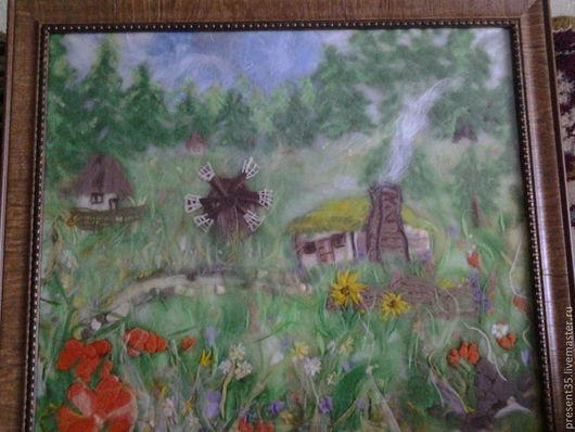 Пейзаж ручной работы. Ярмарка Мастеров - ручная работа. Купить Картина из шерсти. Handmade. Картина в подарок, деревня, шерстяная акварель