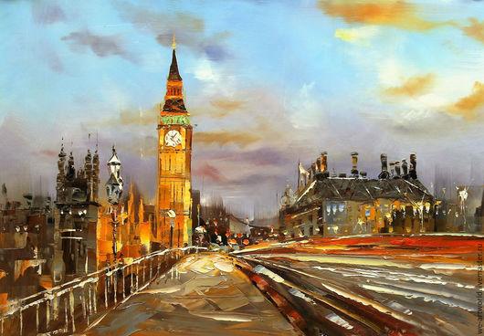 """Город ручной работы. Ярмарка Мастеров - ручная работа. Купить Городской пейзаж """"Лондон. Биг-Бен и Вестминстерский мост. Вечер"""". Handmade."""
