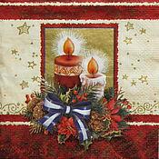Материалы для творчества handmade. Livemaster - original item 6 PCs napkins for decoupage new year Christmas candle. Handmade.