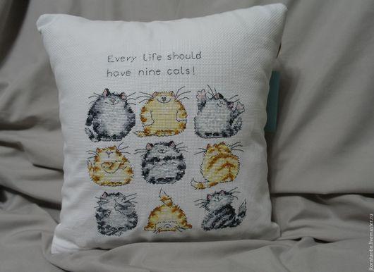 """Текстиль, ковры ручной работы. Ярмарка Мастеров - ручная работа. Купить Вышитая подушка """"Every life should have nine cats"""". Handmade."""