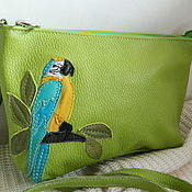 Сумки и аксессуары handmade. Livemaster - original item Leather bag. Crossbody bag. Clutch bag. Ara green. Handmade.