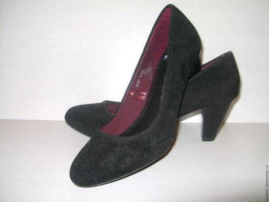Винтажная обувь. Ярмарка Мастеров - ручная работа. Купить Черные замшевые туфельки на невысоком каблуке 36 размер. Handmade. Черный