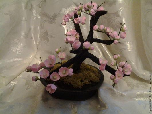"""Бонсай ручной работы. Ярмарка Мастеров - ручная работа. Купить Бонсай """"Слива"""" (""""Plum""""). Handmade. Бледно-розовый"""