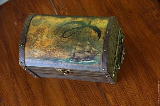 """Шкатулки ручной работы. Ярмарка Мастеров - ручная работа. Купить Шкатулка """"Пиратский сундук 2"""". Handmade. Коричневый, шкатулка для мелочей"""
