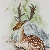 Картины и панно handmade. Livemaster - original item Deer, watercolor, landscape watercolor. Handmade.