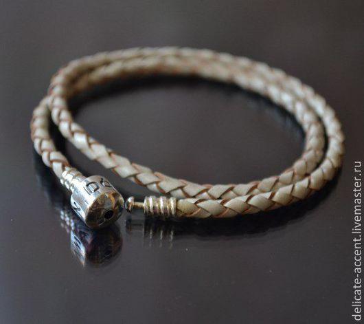 Для украшений ручной работы. Ярмарка Мастеров - ручная работа. Купить Двойной кожаный браслет в стиле Pandora, серебро 925. Handmade.
