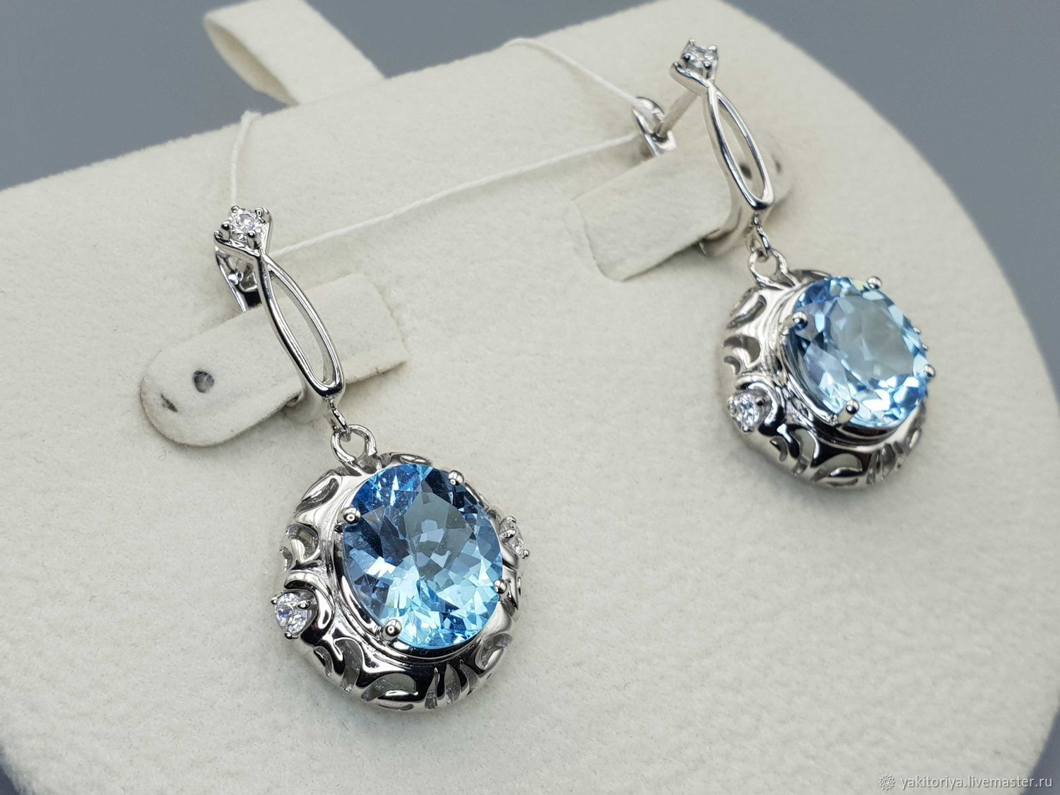Silver earrings with 12h10 mm topaz and cubic zirconia, Earrings, Moscow,  Фото №1