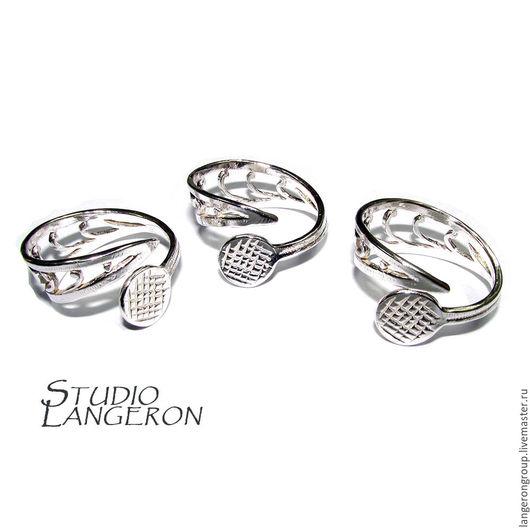 Для украшений ручной работы. Ярмарка Мастеров - ручная работа. Купить Основа для кольца с площадкой для кабошона 8095. Фурнитура серебро. Handmade.