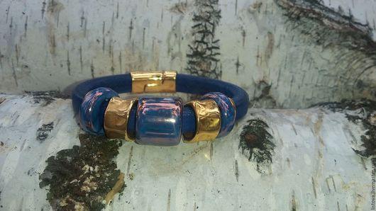 Браслеты ручной работы. Ярмарка Мастеров - ручная работа. Купить Кожаный браслет Regaliz синий Безмятежность. Handmade. Регализ