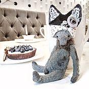 Куклы и игрушки ручной работы. Ярмарка Мастеров - ручная работа 14 см - Монти в шапочке кота - мишка тедди. Handmade.