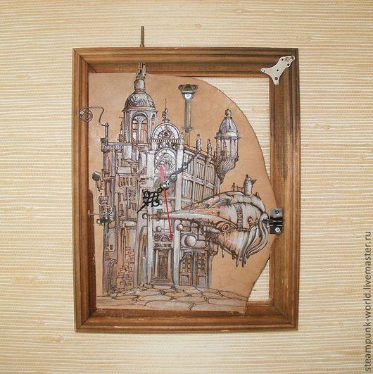 """Фэнтези ручной работы. Ярмарка Мастеров - ручная работа. Купить Настенные часы в стиле стимпанк """"Воздушный замок"""" Steampunk. Handmade."""