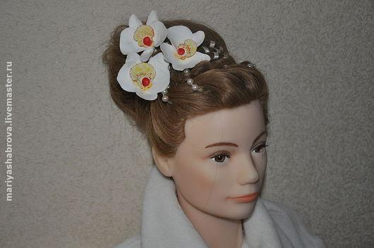 Свадебные украшения ручной работы. Ярмарка Мастеров - ручная работа. Купить Орхидеи из глины 2. Handmade. Свадебное украшение