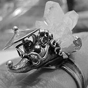Украшения ручной работы. Ярмарка Мастеров - ручная работа Кольцо ежик из серебра с камнем, с щеточками. Handmade.