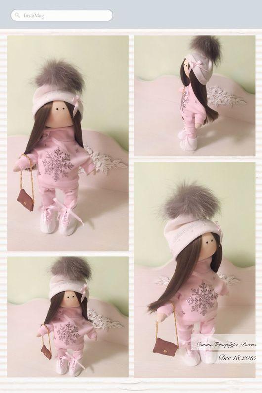 """Куклы тыквоголовки ручной работы. Ярмарка Мастеров - ручная работа. Купить Куколка """"Розовая снежинка"""". Handmade. Подарок, трикотаж хлопок"""