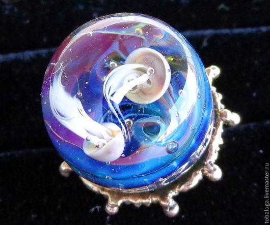 Кольца ручной работы. Ярмарка Мастеров - ручная работа. Купить Кольцо Уплывающие в синеву. Handmade. Синий, медузы, голубой