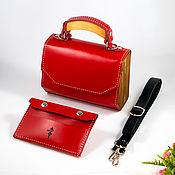 handmade. Livemaster - original item Amely-Red leather women`s handbag, bag with wood. Handmade.