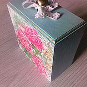 Для дома и интерьера ручной работы. Ярмарка Мастеров - ручная работа Короб-шкатулка Пионы. Handmade.