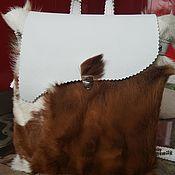 Сумки и аксессуары ручной работы. Ярмарка Мастеров - ручная работа рюкзак из белой кожи с мехом. Handmade.