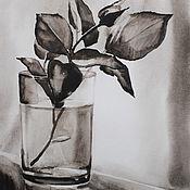Картины и панно handmade. Livemaster - original item Watercolor painting of a Rose in a Glass. Handmade.