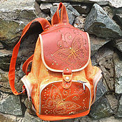 Сумки и аксессуары handmade. Livemaster - original item Youth leather backpack with BUTTERFLY embroidery. Handmade.