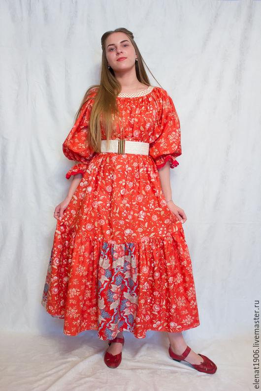 """Платья ручной работы. Ярмарка Мастеров - ручная работа. Купить Лоскутное платье  """"Коралловое настроение"""". Handmade. Коралловый, летнее платье"""