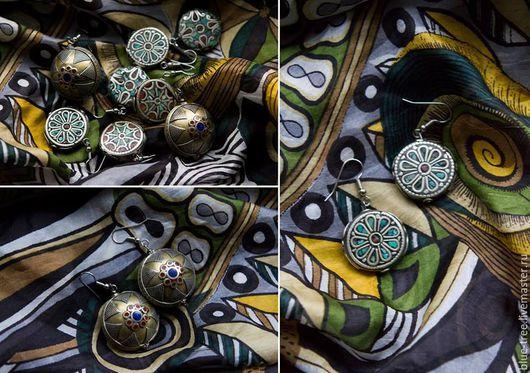 """Серьги ручной работы. Ярмарка Мастеров - ручная работа. Купить Серьги """"Непальская мозаика"""". Handmade. Разноцветный, серебро, бирюза, коралл"""