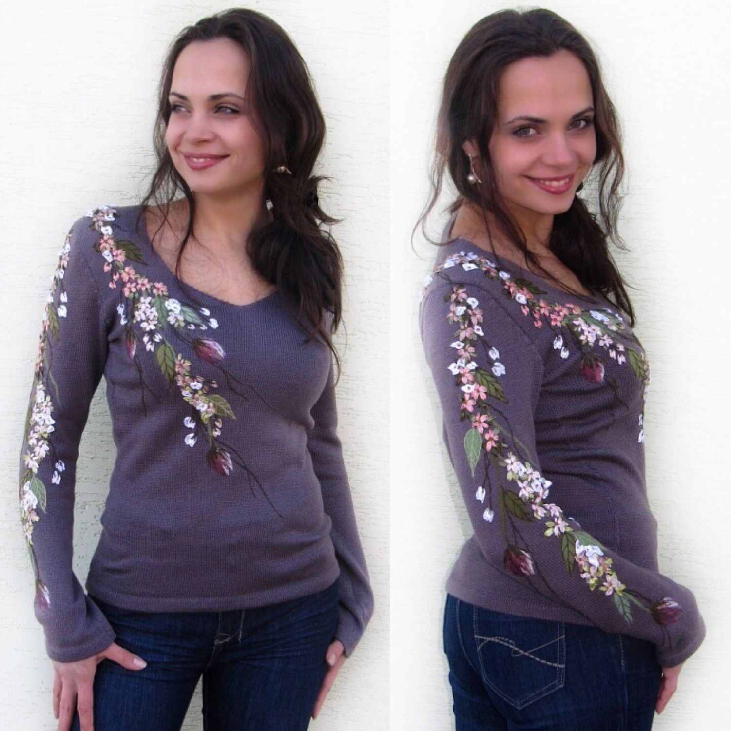 Sweater Jackets & Sweaters handmade. Livemaster - handmade. Buy ' Maiden SPRING  '.Flowers, lilac, author's knitwear