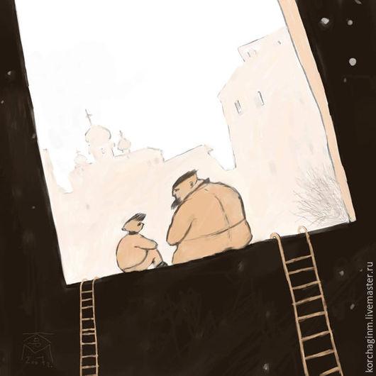 Фантазийные сюжеты ручной работы. Ярмарка Мастеров - ручная работа. Купить Разговор с отцом. Handmade. Познание, церковь, Тишина