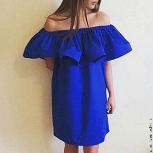 Платья ручной работы. Ярмарка Мастеров - ручная работа. Купить Платье из хлопка с воланом.. Handmade. Синий, платье на резинке, хлопок