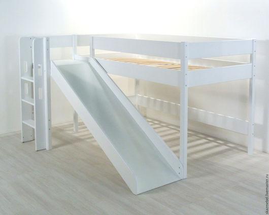 Детская ручной работы. Ярмарка Мастеров - ручная работа. Купить Кровать чердак  белая с горкой высота 120 см. Handmade.