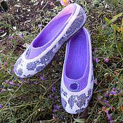 """Обувь ручной работы. Ярмарка Мастеров - ручная работа тапочки  """"Морозные цветы"""". Handmade."""