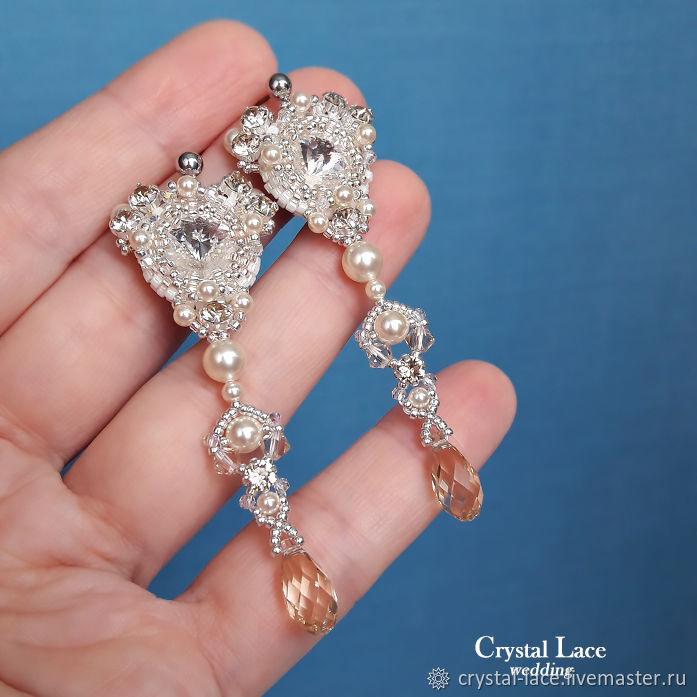 Длинные серьги с жемчугом и кристаллами для невесты, Серьги, Москва,  Фото №1