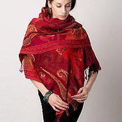 Красный палантин из шерсти - Алый мак