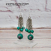 Украшения handmade. Livemaster - original item Earrings with natural turquoise beads and Tensha.. Handmade.