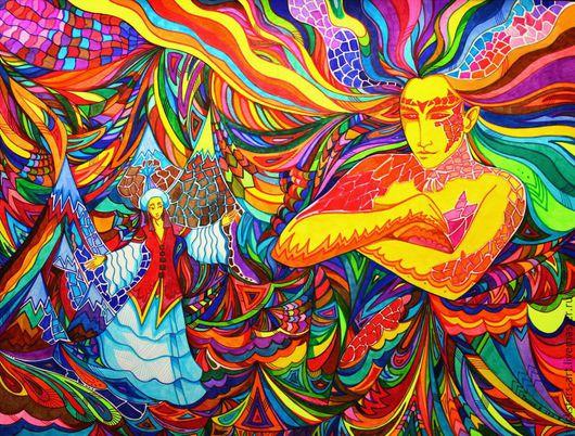 """Фэнтези ручной работы. Ярмарка Мастеров - ручная работа. Купить Картина """"Тенгри"""",. Handmade. Картина, абстракция, фэнтези, боги, разноцветный"""